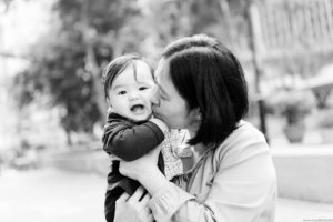 Outdoor black and white family photography