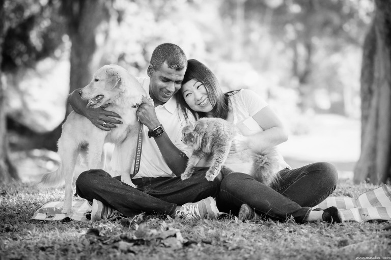 Black and white outdoor family and pet photography.