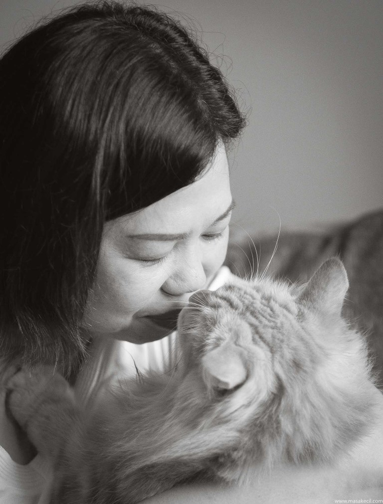 A loving owner and her cat.
