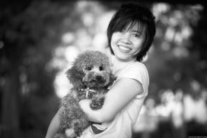 Black and white dog photography in Singapore.