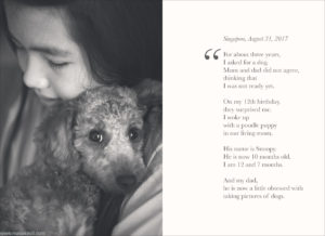 A girl and her dog - black and white photography.
